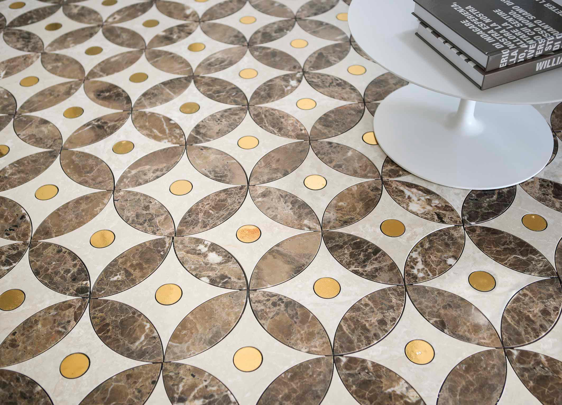 Lithos Mosaico Italia Bloom 1 300 marmo BOT - ME, glass LUX GOLD